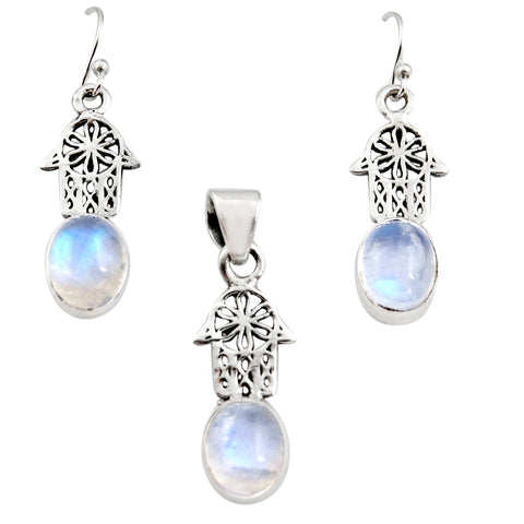 Natural Rainbow Moonstone Sterling Silver Hand of God Hamsa Pendant Earrings Set