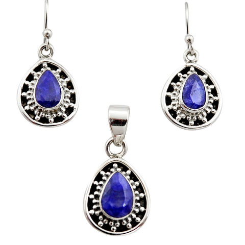 6.80 cts Natural Blue Sapphire Pear Shape Pendant Earrings Set