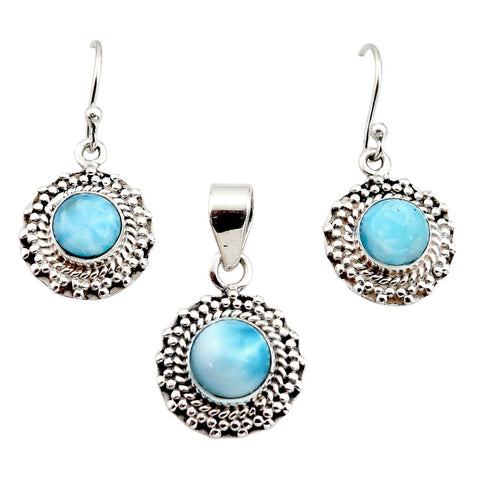 7.10 cts Natural Blue Larimar Sterling Silver 925 Pendant Earrings Set