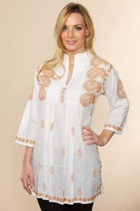 Hand embroidered Cotton Marigold Tunic