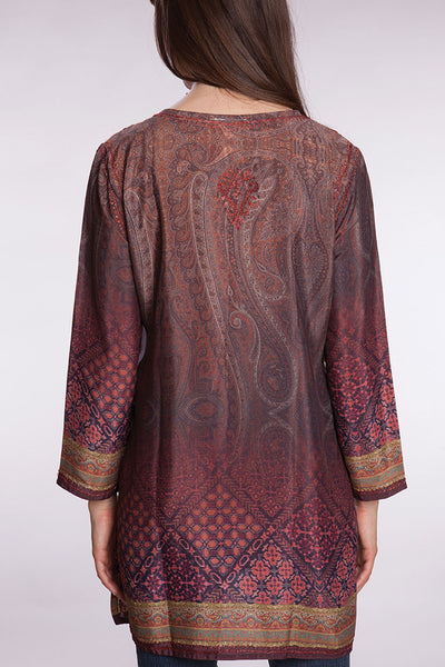 Hand Embroidered Silk & Poly Blend Deena Tunic - 71.2