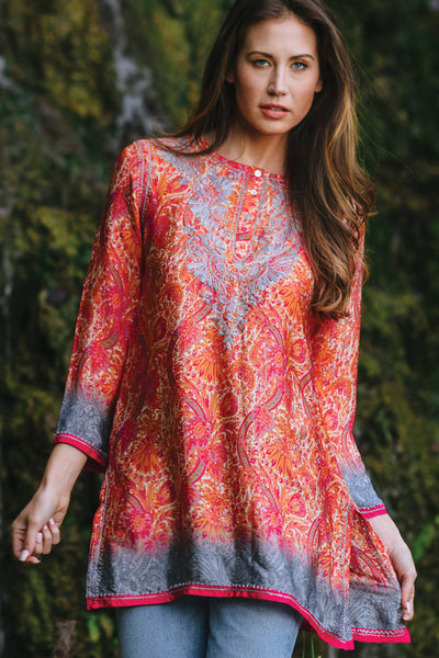Hand Embroidered Silk & Poly Blend Deena Tunic - 71.6