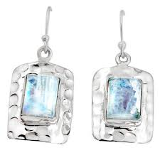 Natural Rainbow Moonstone 925 Sterling Silver Dangle Earrings