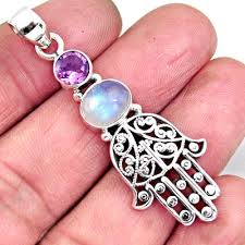 4.21 cts Natural Rainbow Moonstone 925 Silver Hand Of God Hamsa Pendant