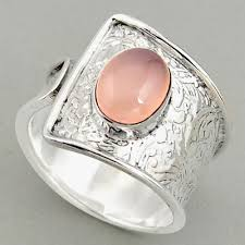 Natural Rose Quartz 925 Silver Adjustable Solitaire Ring Size 8.5