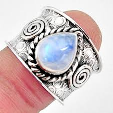 4.21 cts Natural Rainbow Moonstone 925 Silver Solitaire Ring Size 8