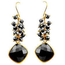 Natural Black Onyx 925 Sterling Silver 14K Gold Dangle Earrings
