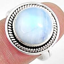 Natural Rainbow Moonstone Round Solitaire Ring Size 8