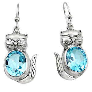 8.44 cts Natural Blue Topaz 925 Sterling Silver Cat Earrings