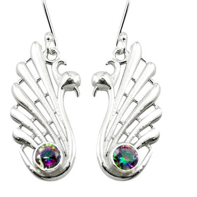 Rainbow topaz sterling silver dangle earrings 925