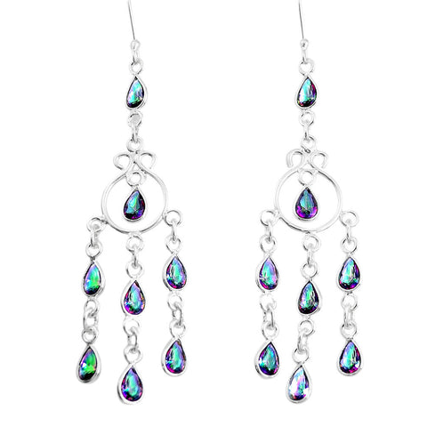 Rainbow Topaz Chandelier Earrings