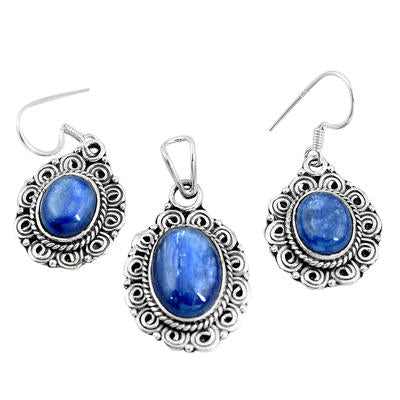 Natural blue doublet opal australian 925 silver pendant earrings set m78614