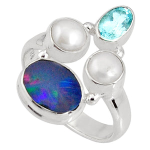 Natural Blue Doublet Opal Australian 925 Silver Ring Size 6.5
