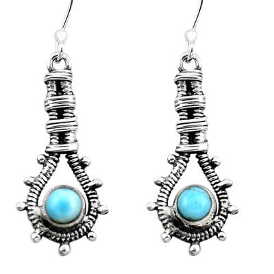Natural blue larimar 925 sterling silver dangle earrings