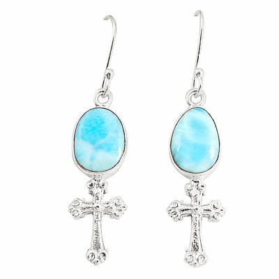 Natural larimar 925 Sterling silver holy cross earrings