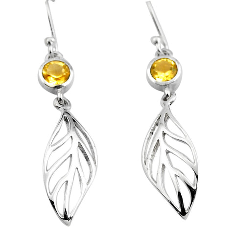 Natural Yellow Citrine 925 Sterling Silver Deltoid Leaf Earrings