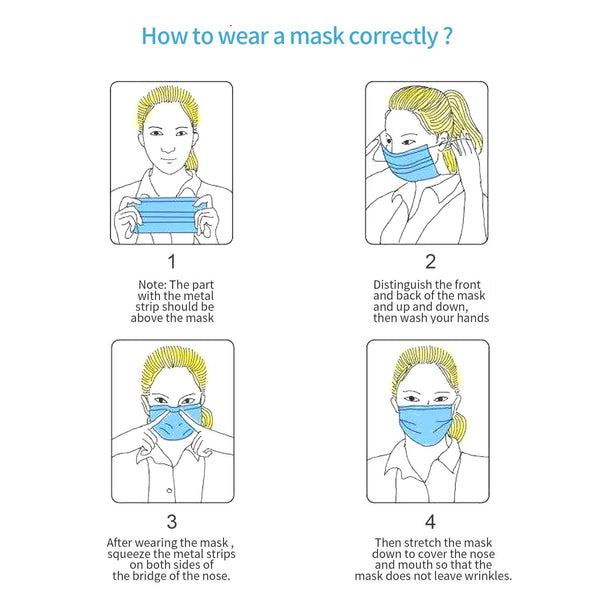 Disposable 3-Ply Face Masks - Box of 50 - Everyday Essentials