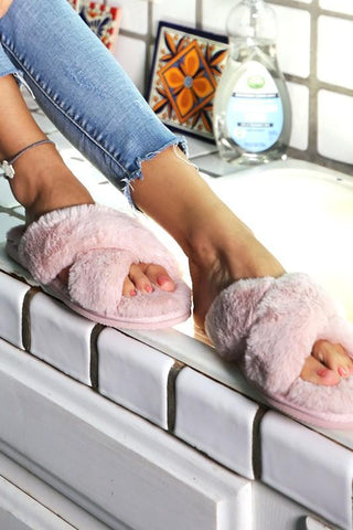 Pink Fluffy Cross Over Slippers- Everyday Essentials