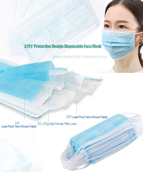 Disposable 3-Ply Face Masks - Box of 50 -3-Ply Face Masks , surgical face mask Ireland, disposable face mask Ireland, face mask Ireland,Everyday Essentials