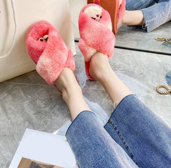 Coral Fluffy Tie Dye Crossover Slippers