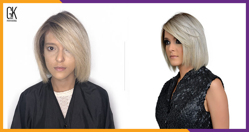 Before and After, masque for blonde hair