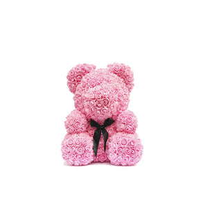Ourson en rose - Noir Intense (25cm)