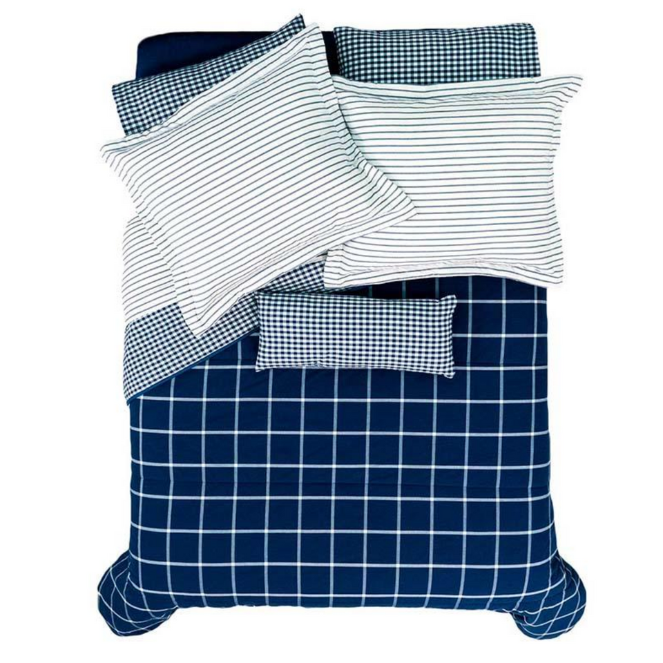 decurban.com downtown blue and white plaid comforter set
