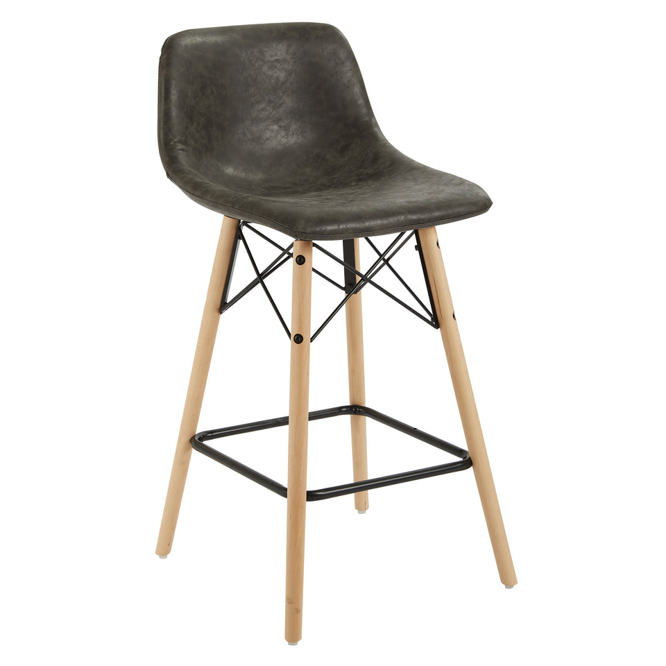 mid century modern aimes gray bucket counter stool with natural post legs scandinavian design inspired from decurban.com