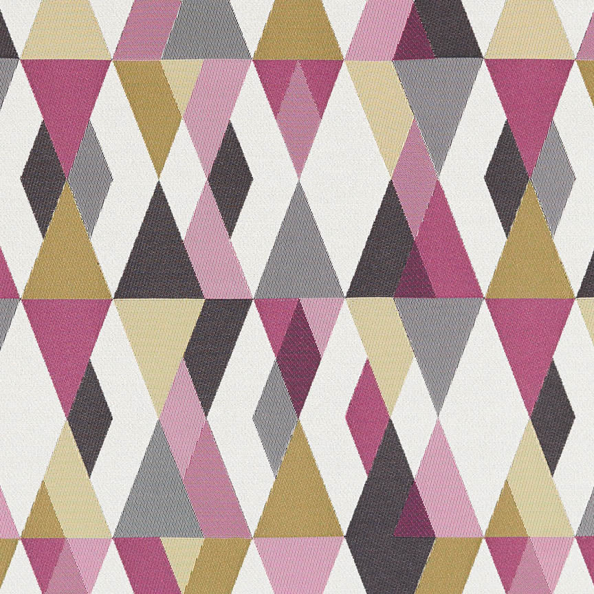 magenta, light pink, gray, beige, and gold diamond patterned fabric by Arc-Com Harlequin, color Flamingo