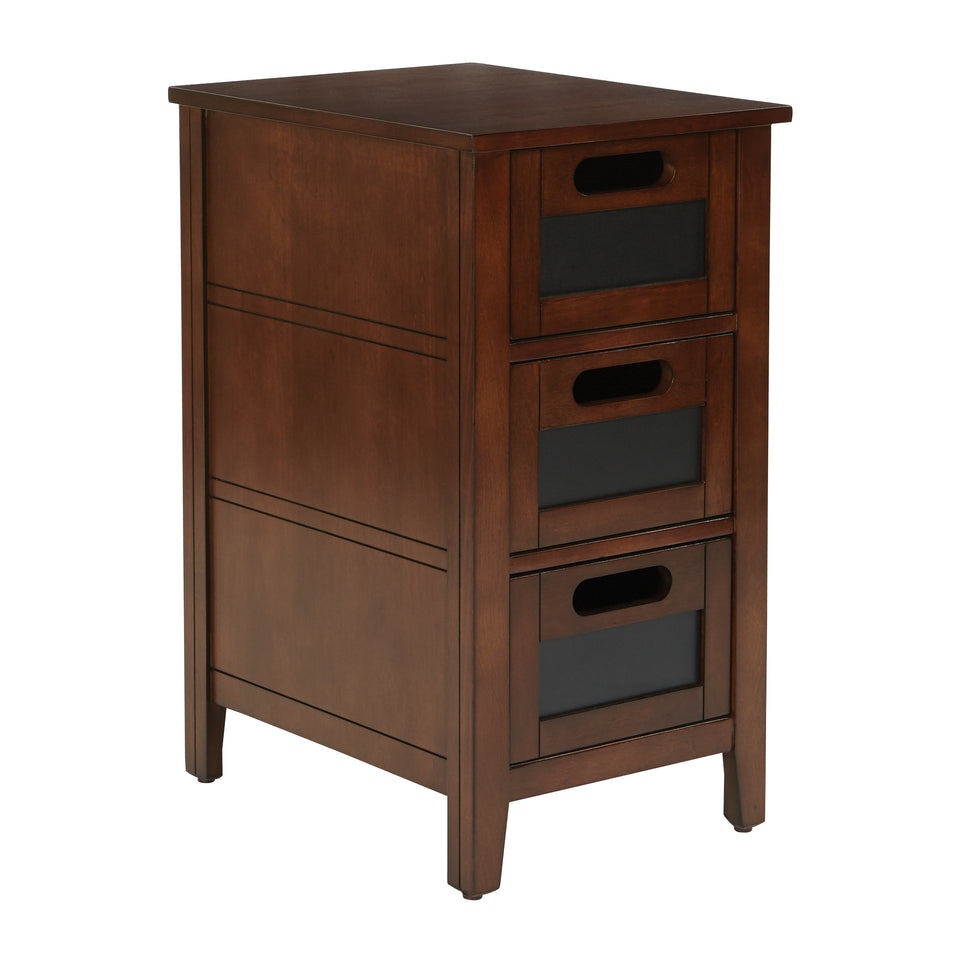 avery chalkboard 3 drawer chalkboard side table in chestnut finish