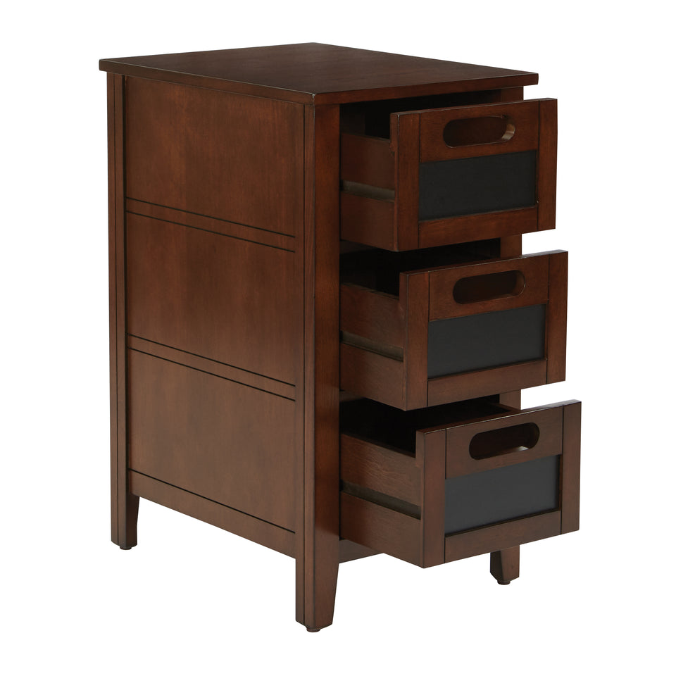 avery chalkboard 3 drawer chalkboard side table in chestnut finish drawers open