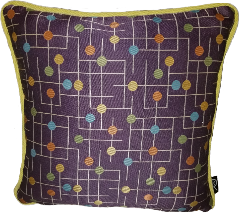 Candyland Purple Blue Green Orange Yellow Decorative Pillow Cover Front View GEO-006