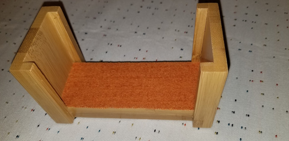 Bamboo coaster holder with orange felt fabric