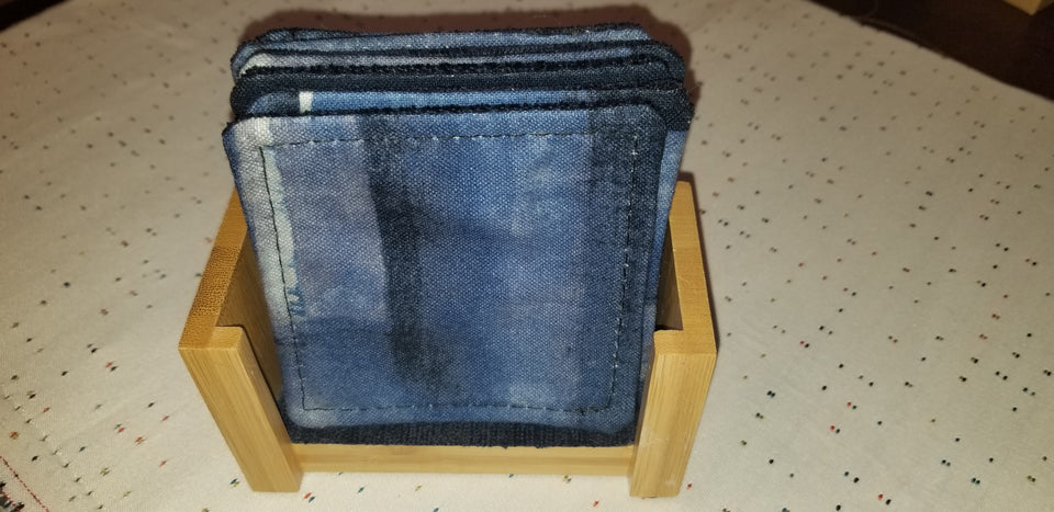 Bamboo coaster holder with navy patterned coasters set