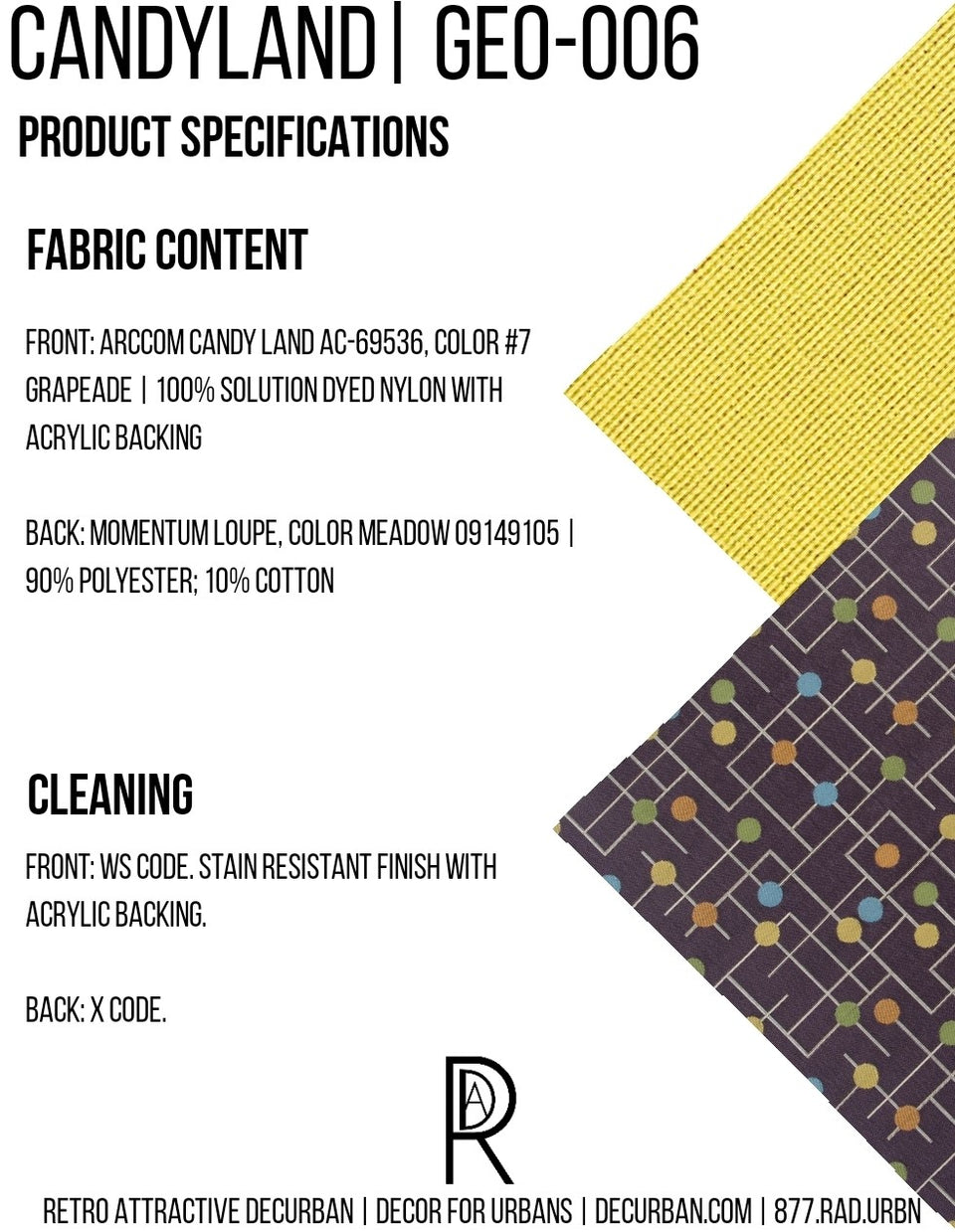 Decurban Candyland Fabric Specification Sheet