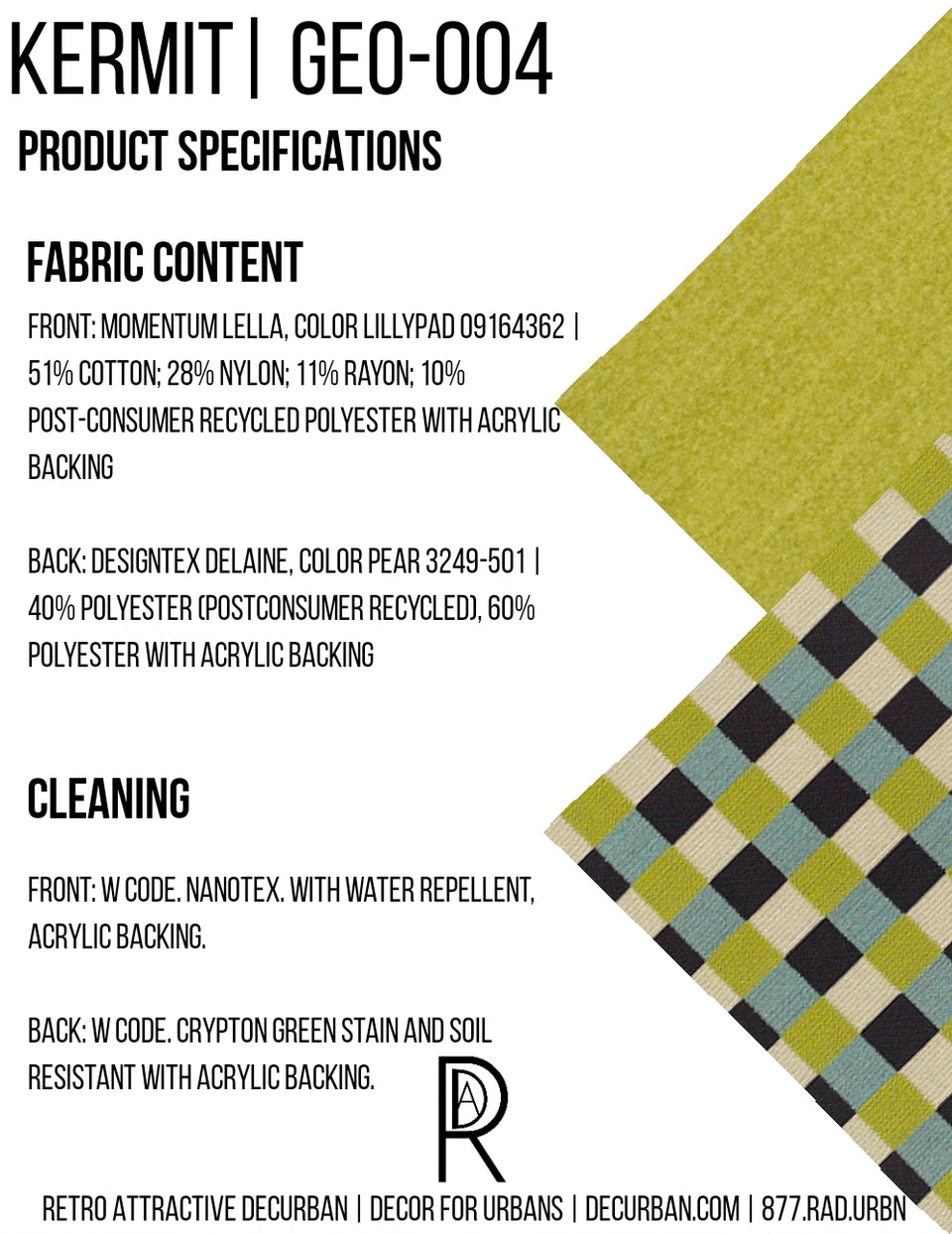 Decurban Kermit Fabric Specification Sheet