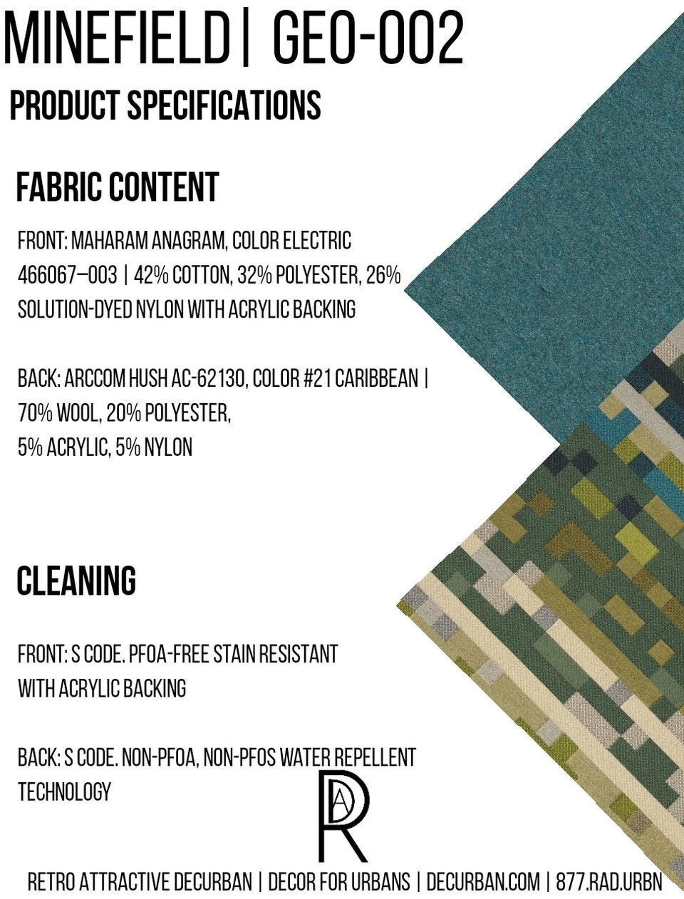 Decurban Minefield Fabric Specification Sheet