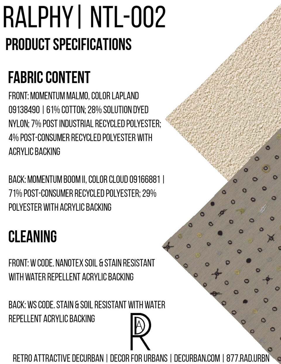 Decurban Ralphy Fabric Specification Sheet