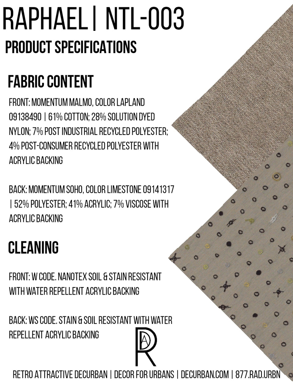 Decurban Raphael Fabric Specification Sheet
