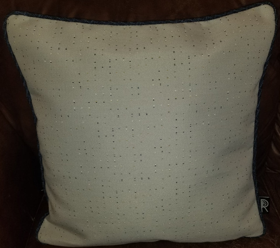 Decurban Multicolored Pindot Gray & Navy Pillow Blu-002 Front View