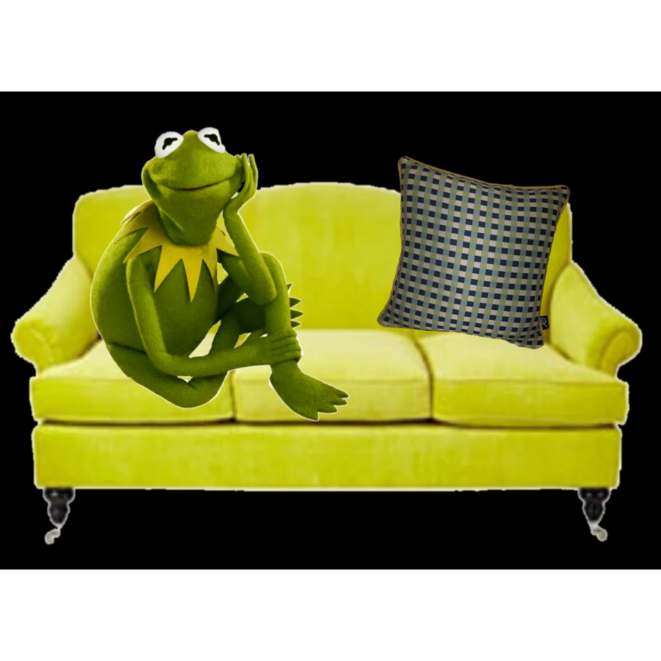 Kermit | Black, White, & Green Gingham Check Pillow Cover