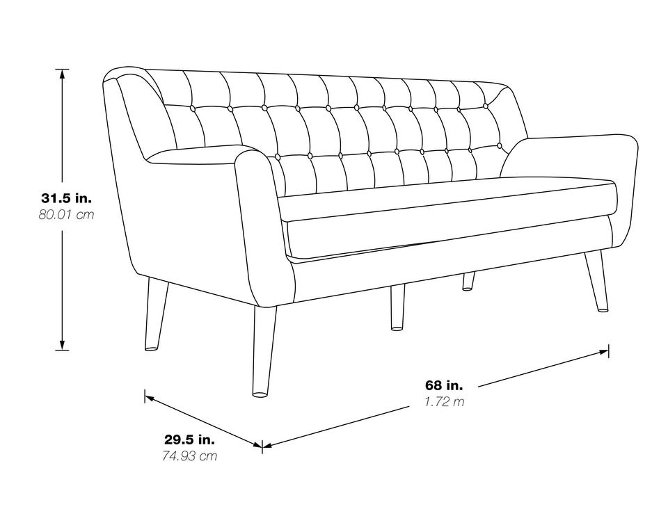 milstein lounge couch 3d black and white schematic