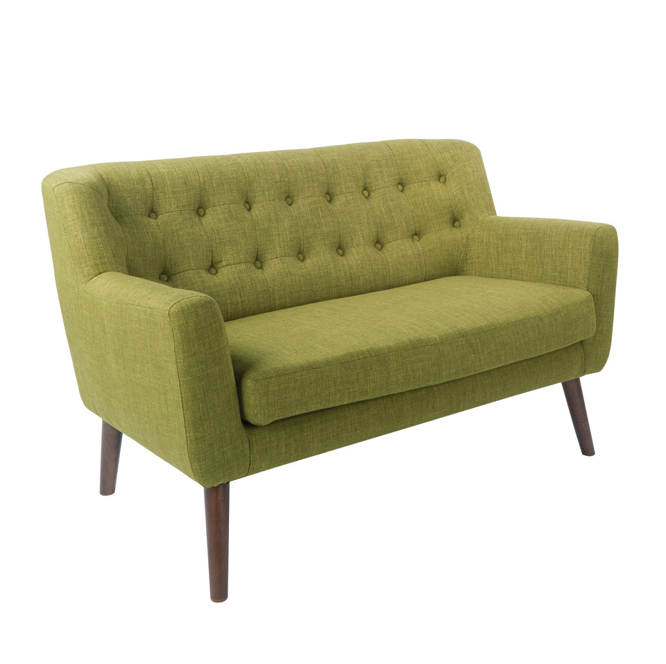 Milstein mid century modern tufted green loveseat with cherry legs
