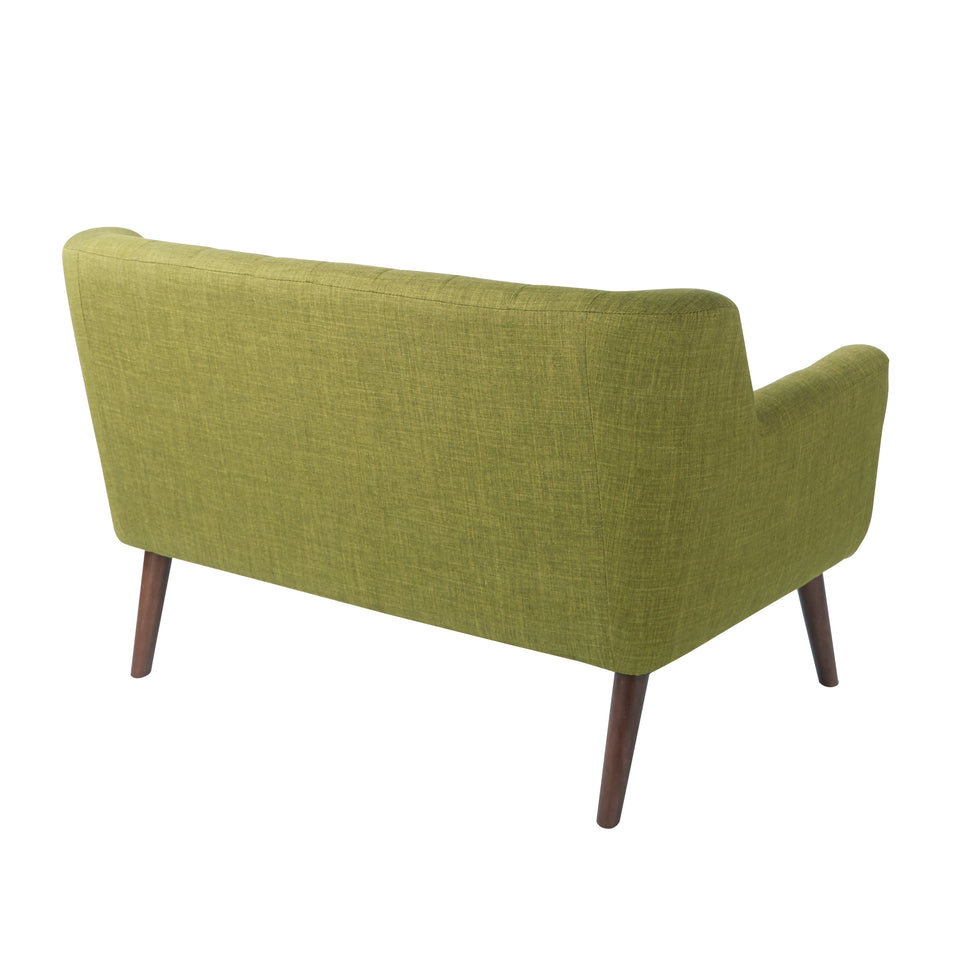 Milstein mid century modern tufted green loveseat with cherry legs back angle view