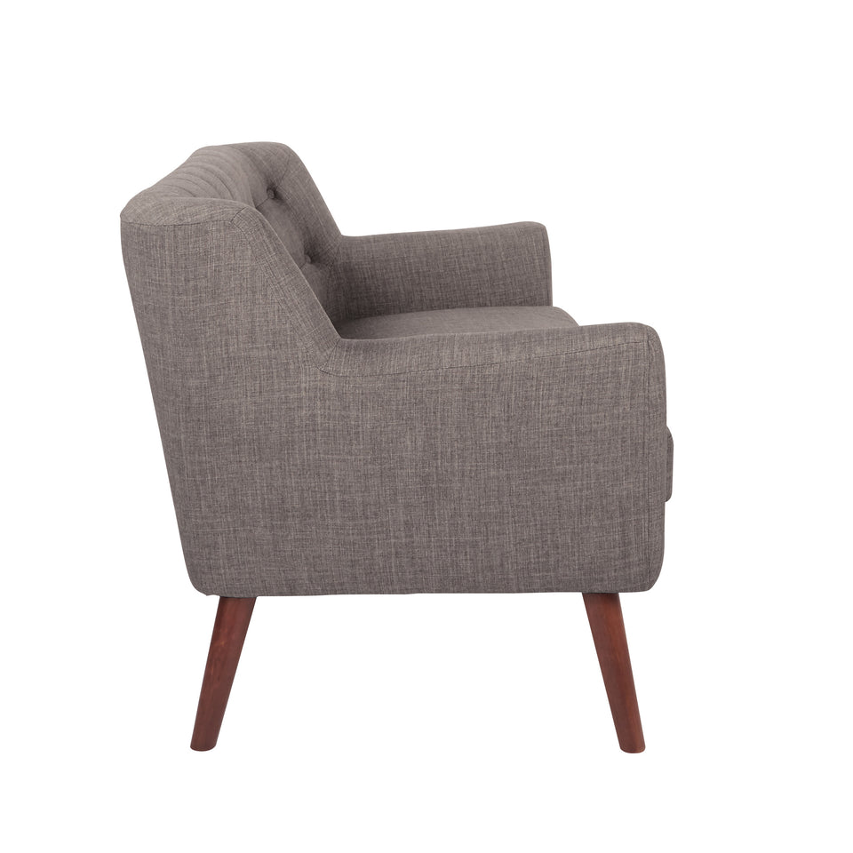 Milstein mid century modern tufted gray loveseat with cherry legs side view