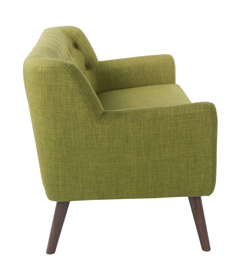 Milstein mid century modern tufted green love seat  with cherry legs side view
