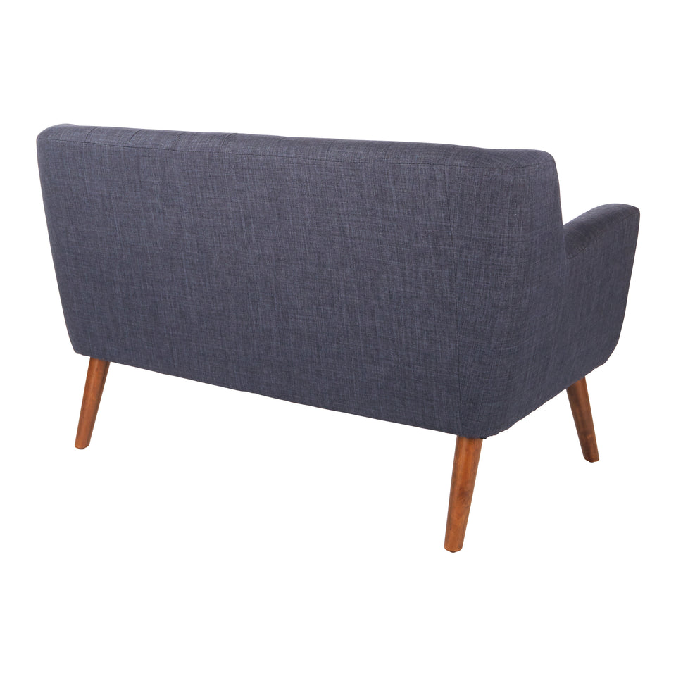 Milstein mid century modern tufted blue loveseat with cherry legs back angle view