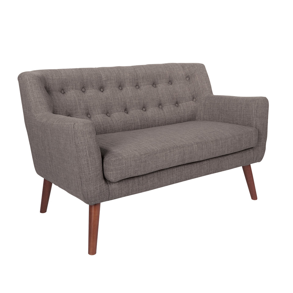 Milstein mid century modern tufted gray loveseat with cherry legs