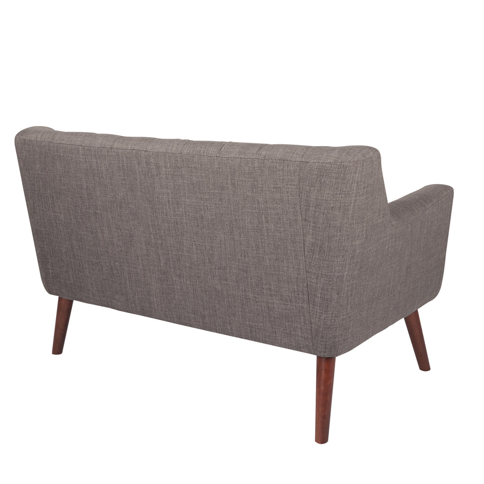 Milstein mid century modern tufted gray loveseat with cherry legs back angle view