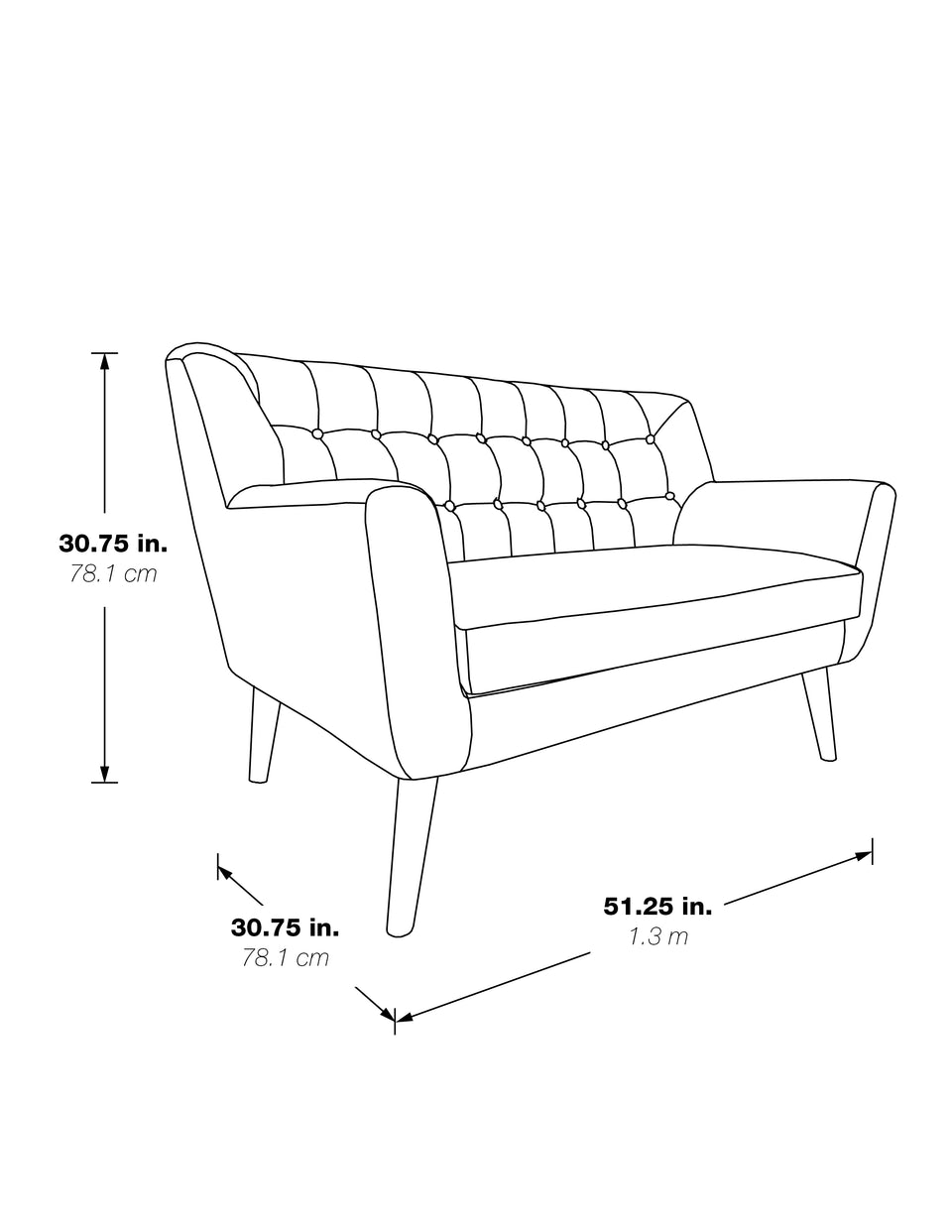 milstein lounge loveseat 3d black and white schematic